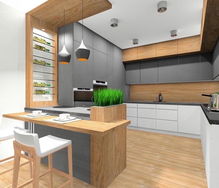 Szara kuchnia z drewnem: Pomysł na aranżacje i projekt wnętrza