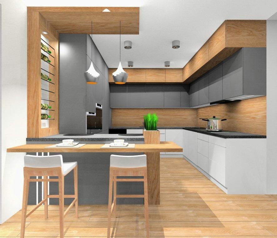 Szara kuchnia z drewnem – pomysł na aranżacje wnętrza
