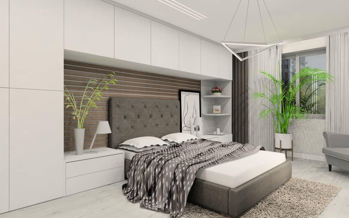 Sypialnia, Zabudowa ściany za łóżkiem. Urządzaj sypialnie z naszym projektantem wnętrz