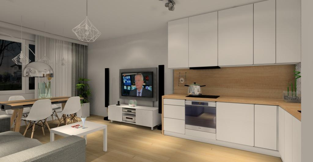 salon z aneksem, biała kuchnia z drewnem, biało-szary salon z drewnem