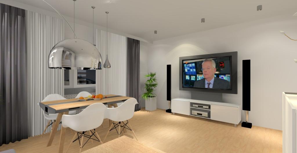 Projekt salonu biały, szary, drewno, aranżacja ściany za kanapą