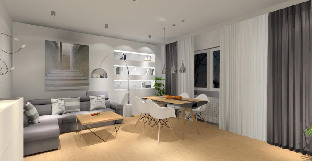 projektowanie salonu, aranżacja salonu, kolor,  szary, biały, drewno