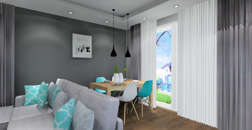 salon z aneksem kuchennym, nowoczesne wnętrze, aranżacja ściany ze stołem