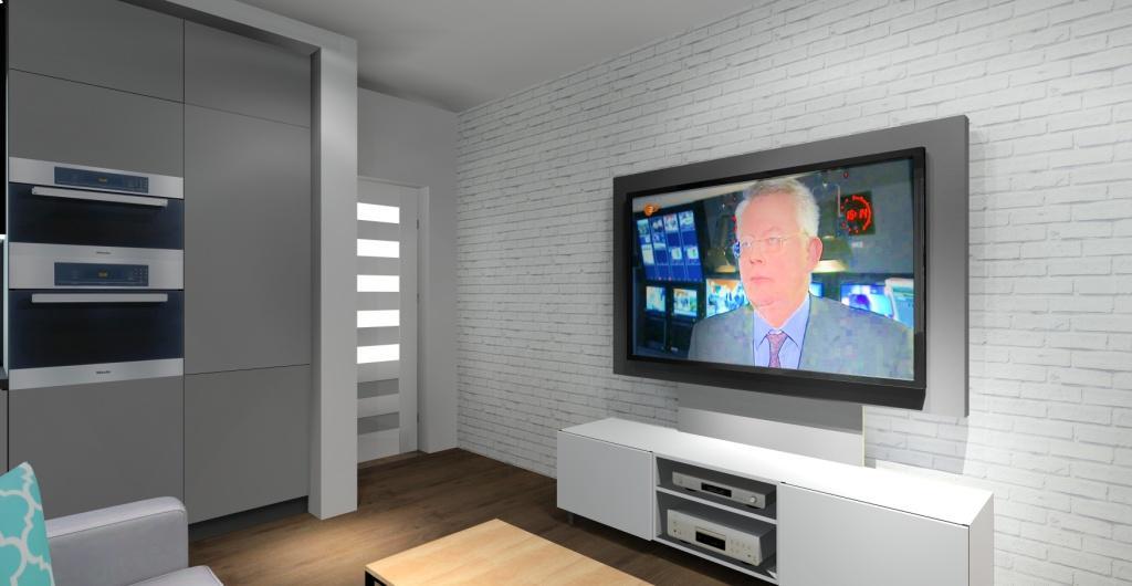 salon z aneskem, biała cegła na ścianie z telewizorem