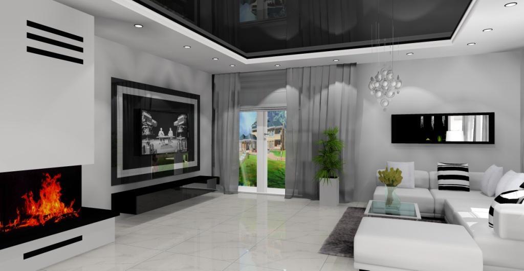 Salon w stylu nowoczesnym, sufit napinany czarny w salonie, płytki na podłodze w salonie białe