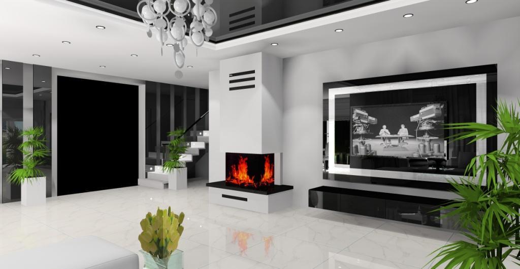 Aranżacja salonu nowoczesnego, salony w kolorach biały, czarny