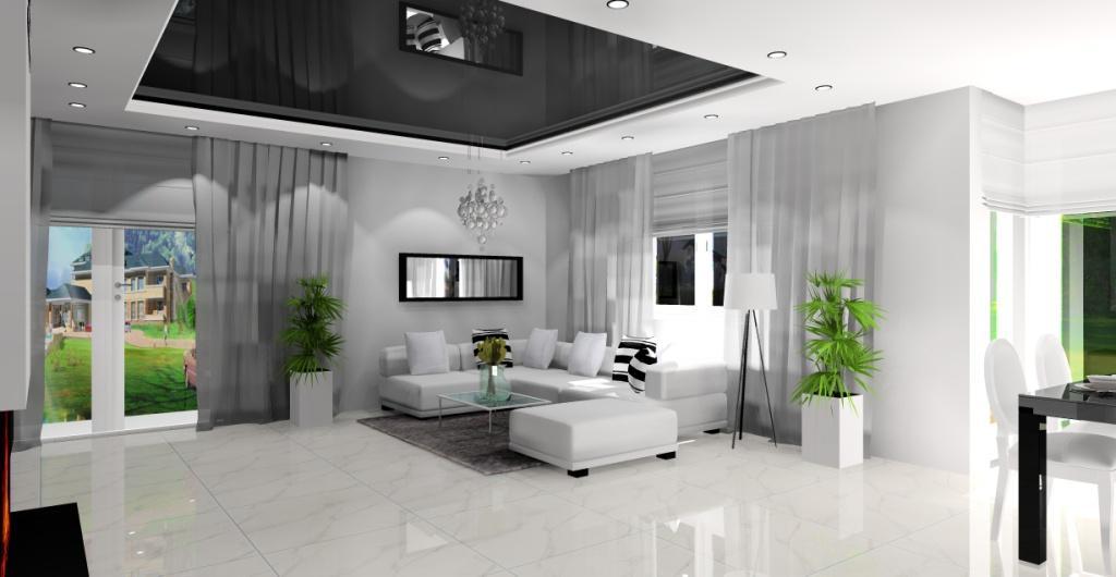 Projekt salonu nowoczesnego, Nowoczesny salon z kominkiem
