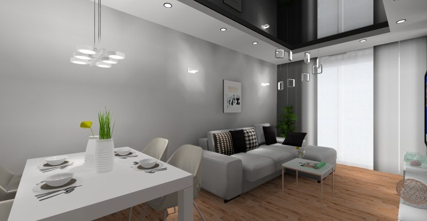 projekty salonu z jadalnią, styl nowoczesny, beton, biały, szary