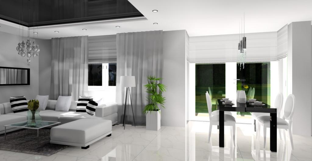 projekt salonu z jadalnią w kolorze biały, czarny, styl glamour, stół czarny