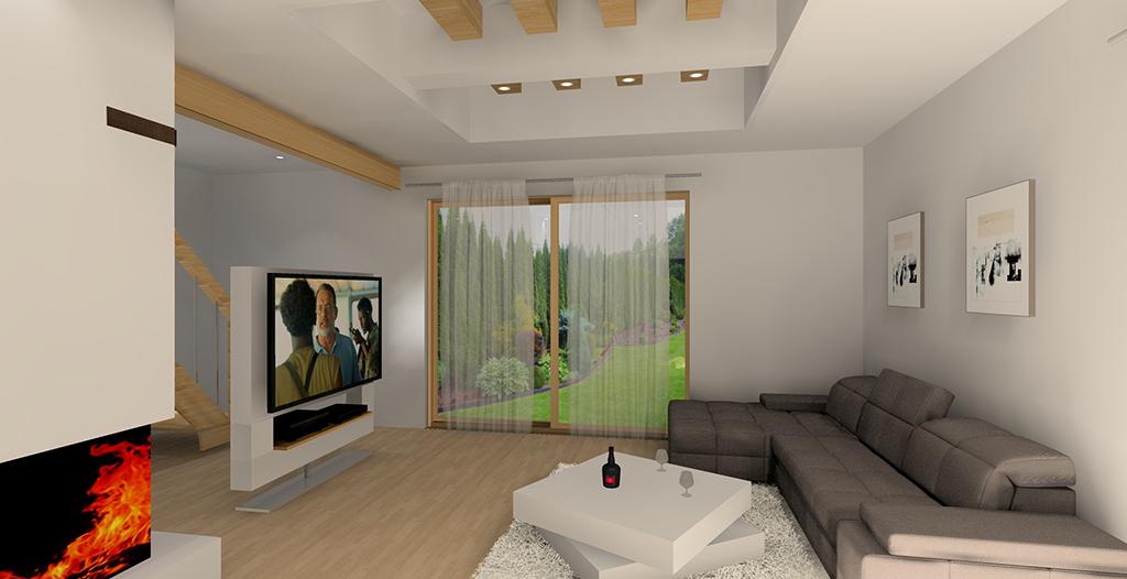 Nowoczesny salon z kominkiem i telewizorem