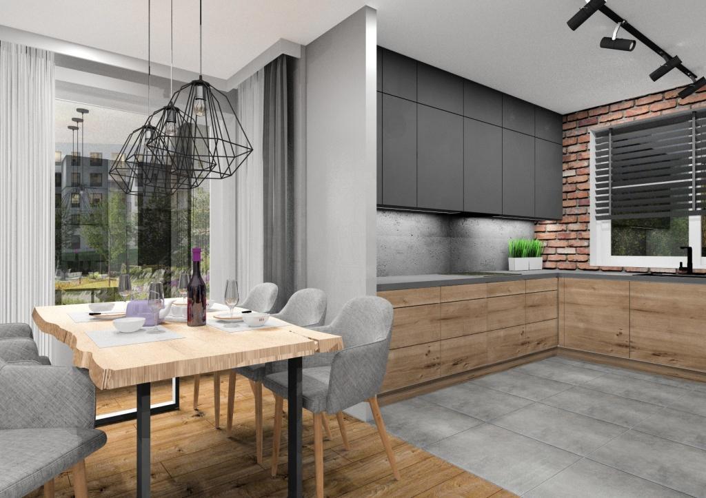 Aranżacja salonu z kuchnią: styl nowoczesno - industrialny, Projekt wnętrza