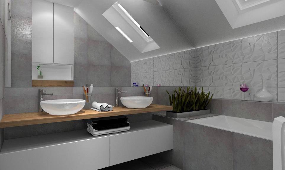 Łazienka z wanną, łazienka z prysznicem: szary, biały, drewno