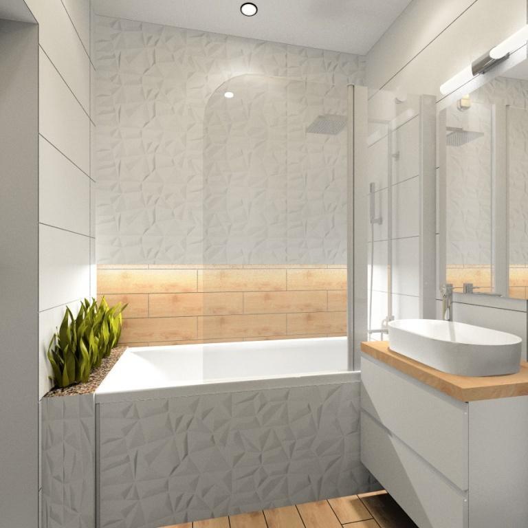 Nowoczesna łazienka płytki białe 3d, płytki imitujące drewno