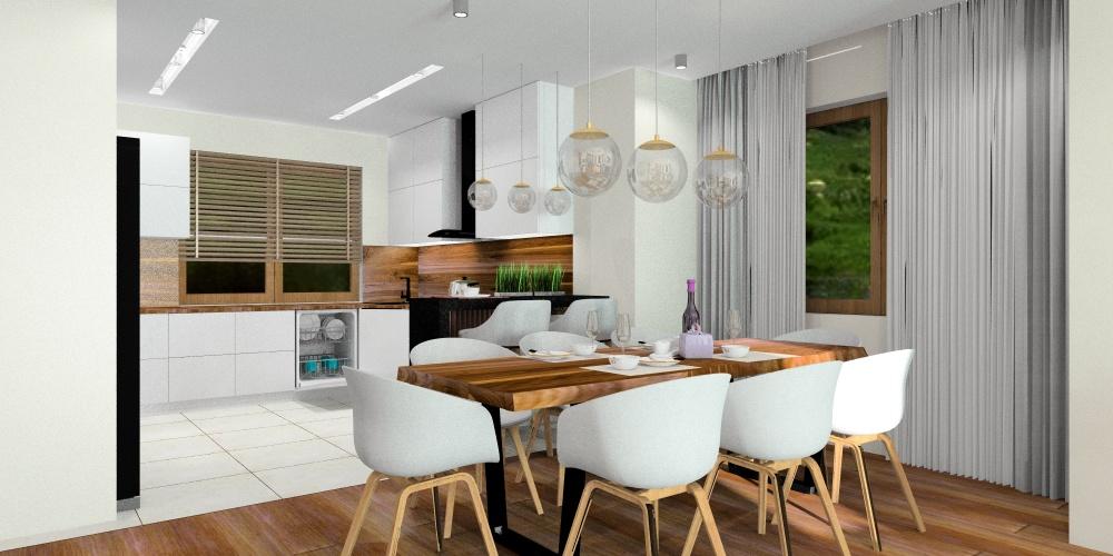 Pomysł na salon z kuchnią: biel, szarość, drewno, czerń
