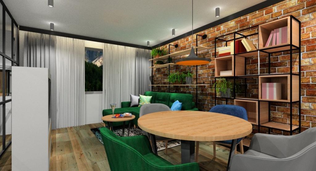 Projekt mieszkania 60 m2: wnętrza w kolorach drewno, butelkowa zieleń, granatowy, cegła na ścianie, kwiaty na ścinach w salonie, regał na ksiązki, stół okrągły