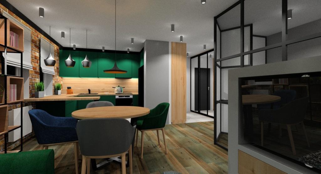 Projekt mieszkania: salon z kuchnią i przedpokojem – drewno, butelkowa zieleń, czarny