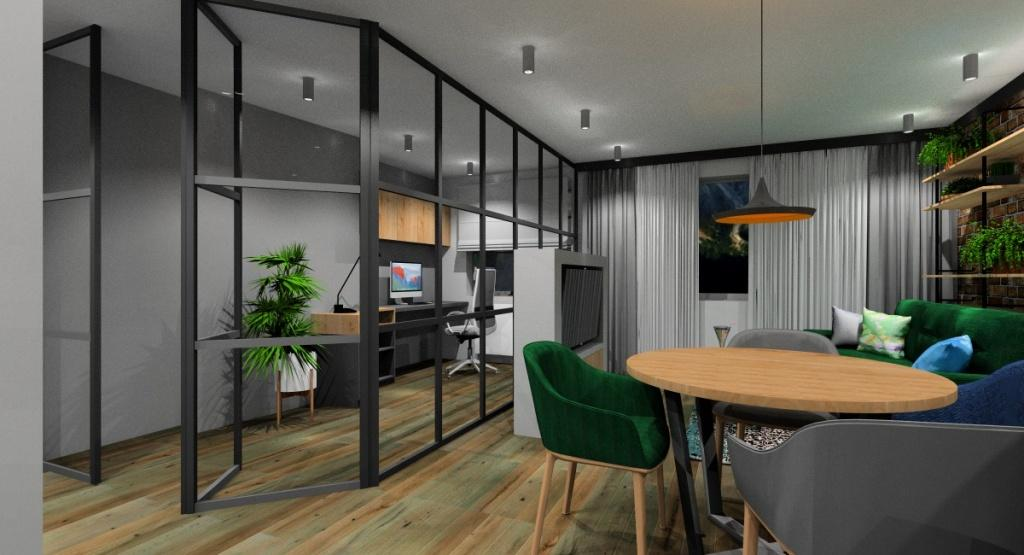 Salon, krzesła butelkowa zieleń, sofa narozna butelkowa zieleń, drzwi szklane, lampa w kolorze złotym, aranżacja ściany telewizyjnej, szklana ściana oddzielająca wnętrze