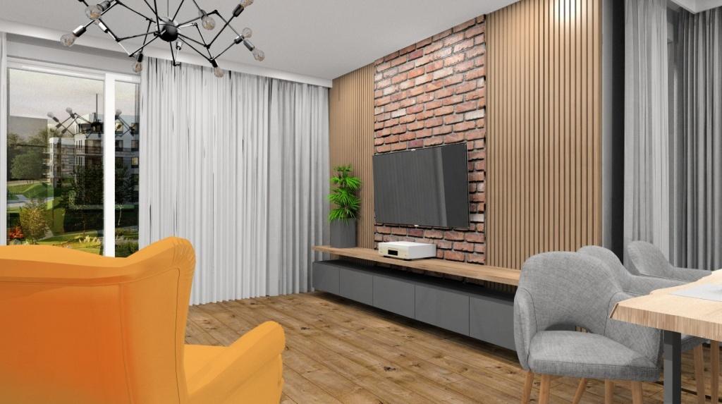 Salon, kuchnia, nowoczesna, industrialna, cegła na ścianie telwizyjnej, drewno, szary, zółty fotel, lampy ażurowe