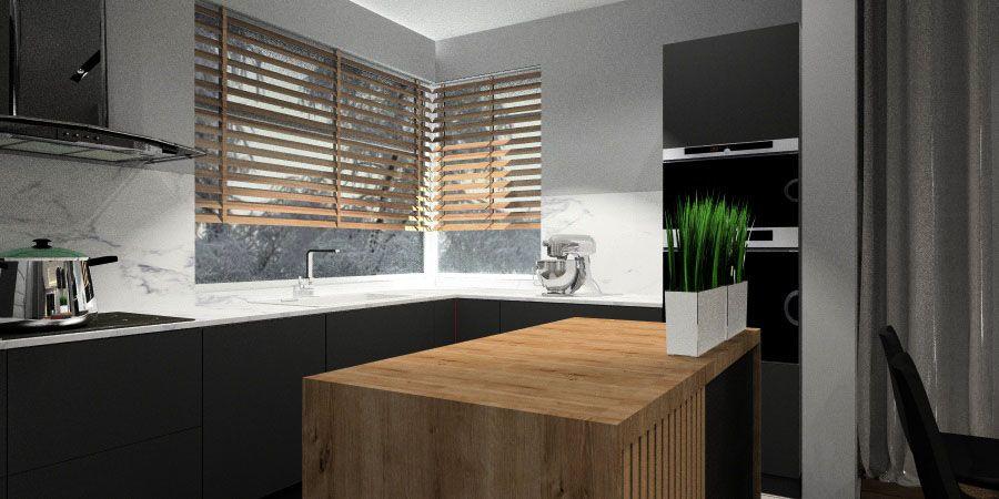Salon z kuchnią- nowocześnie urządzony w szarości i drewnie