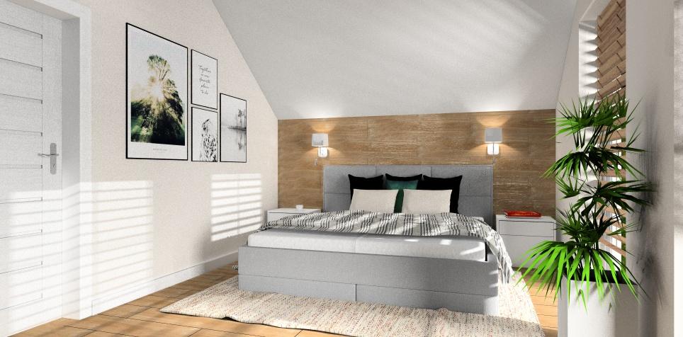 Sypialnia w stylu nowoczesnym : biały, szary, drewno