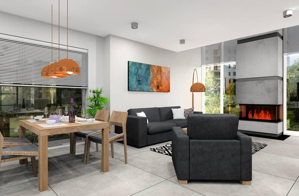 Salon, jadalnia,nowoczesne wnętrze, stół drewniany, sofy grafitowe, stolik kawowy drewniany, dodatki złote