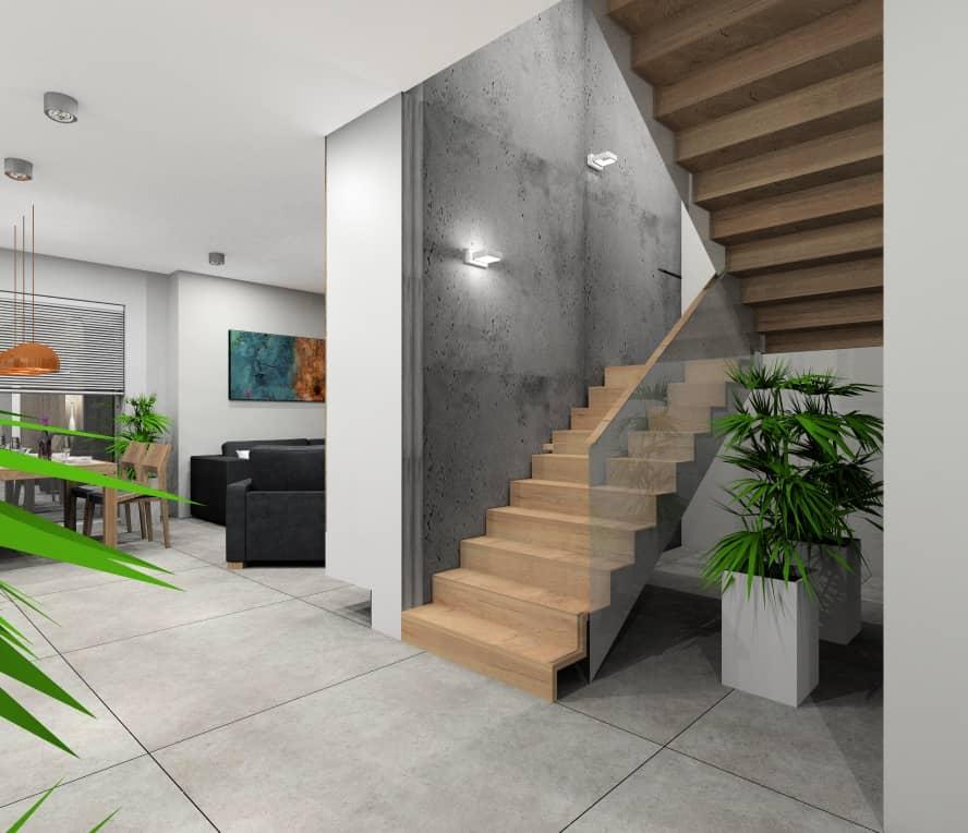 Hol, klatka schodowa, nowoczesne wnętrze, drewniane schody, beton na ścianie w klatce schodowej