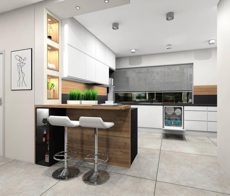 Kuchnia, białe górne szafki, czarny blat, lampy natynkowe, barek z blatem drewnianym, płytki na podłodze gres, drewno pomiędzy szafkami, okno narożne