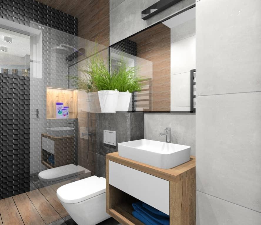 Łazienka dla gości, płytki 3d czarne, płytki imituące beton, oświetlenie na lusterm, prysznic walk-in, płytki drewnopodobne pod prysznicem