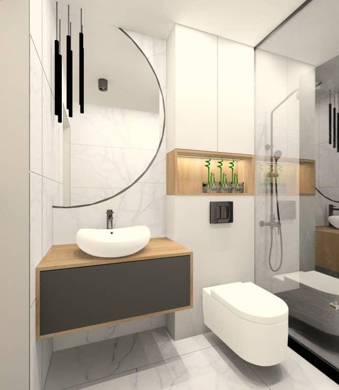 Łazienka mała, wąska, prysznic, lustro duże okrągłe, płytki jasne, drewno