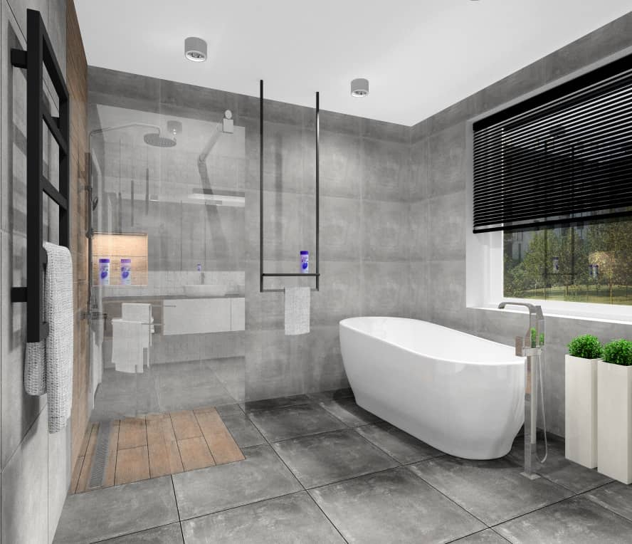 Łazienka, nowoczesne wnętrze, wanna wolnostojącam płytki imituące beron, płytki imitujące drewno, wieszak czarny na ręczniki, okno w łazience, łazienka z wanną i prysznicem