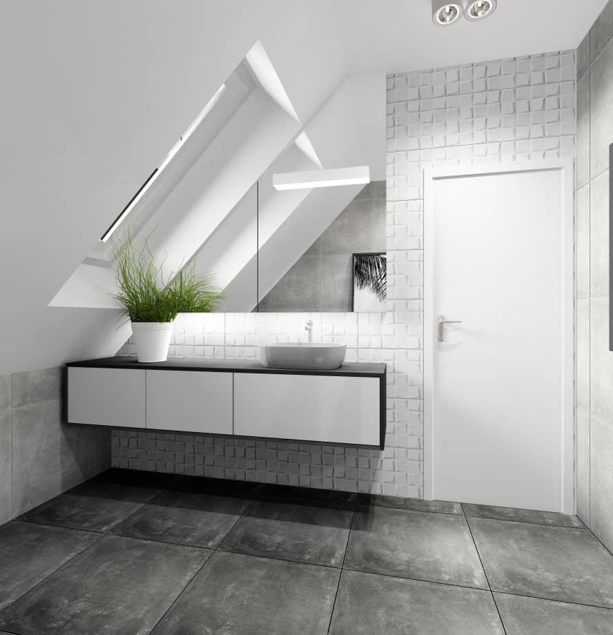 Łazienka nowoczesna, płytki białe kwadraty 3d, płytki na podłodze imituące beton, łazienka na poddaszu w skosach