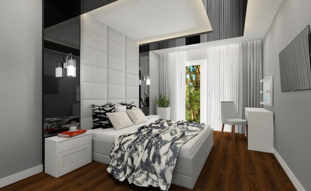 Nowoczesna sypialnia:, piękny projekt wnętrza
