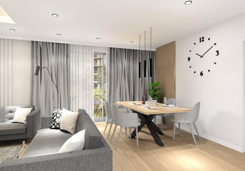 Nowoczesny salon, w jadalni panele drewniane na ścianie, beton na ścianie, stół drewniany z czarnymi nogami, w salonie dwie szare sofy
