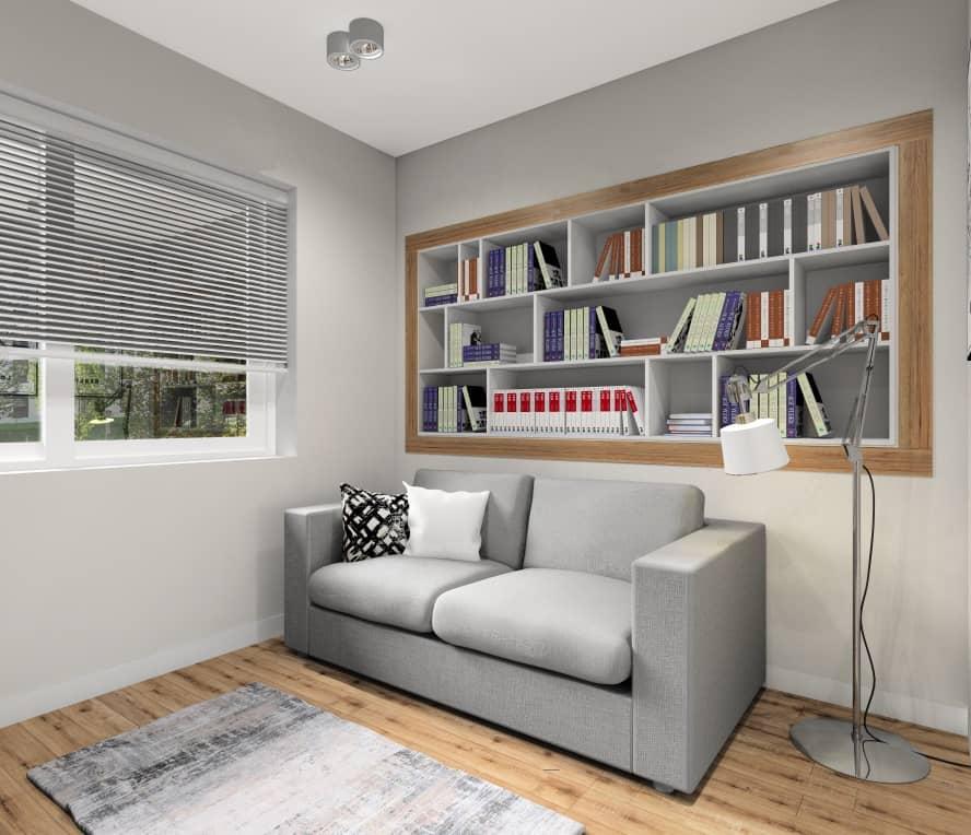 Biuro w domu, półki w ścianie na ksiązki, sofa szara