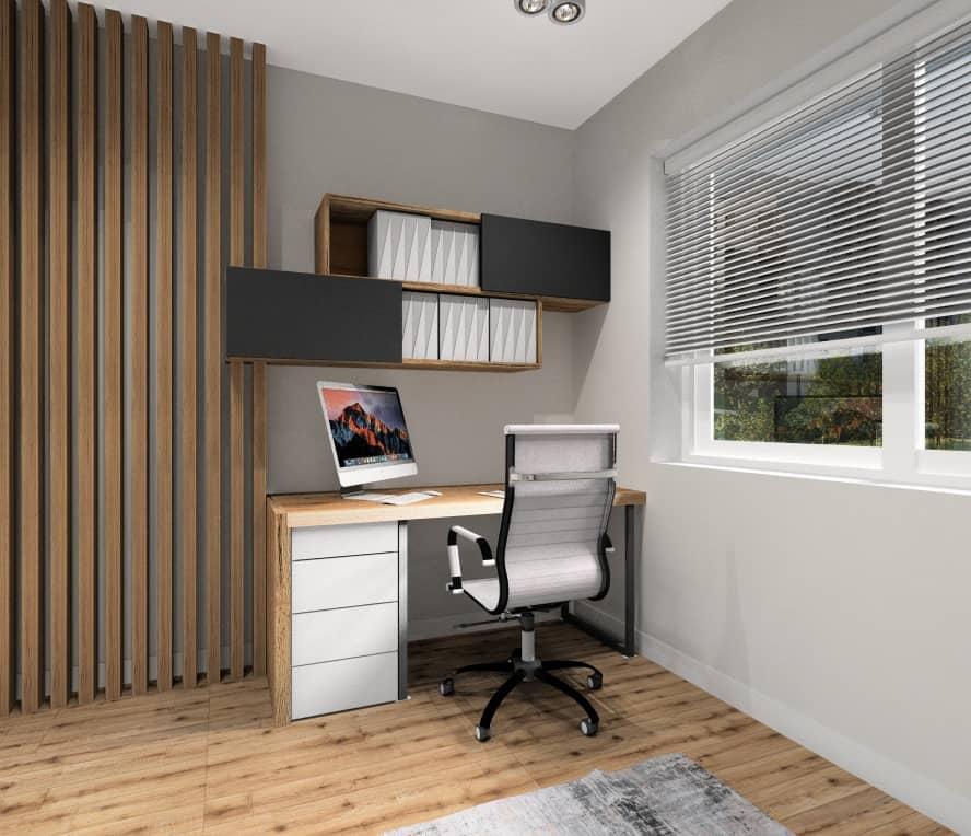 Pokój biurowy w domu, nowoczesne wnętrze, widok na biurko, pólki na segregatory, biuro w kolorze szary, drewno i biały