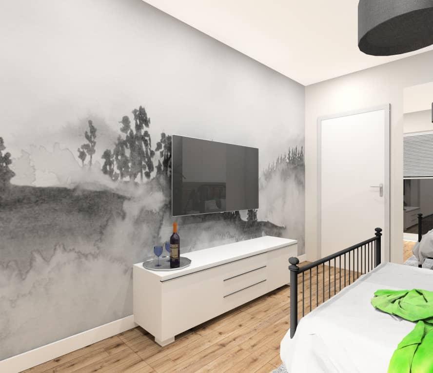 Pokój gościnny, fototapeta na ścianie TV, nowoczesne wnętrze