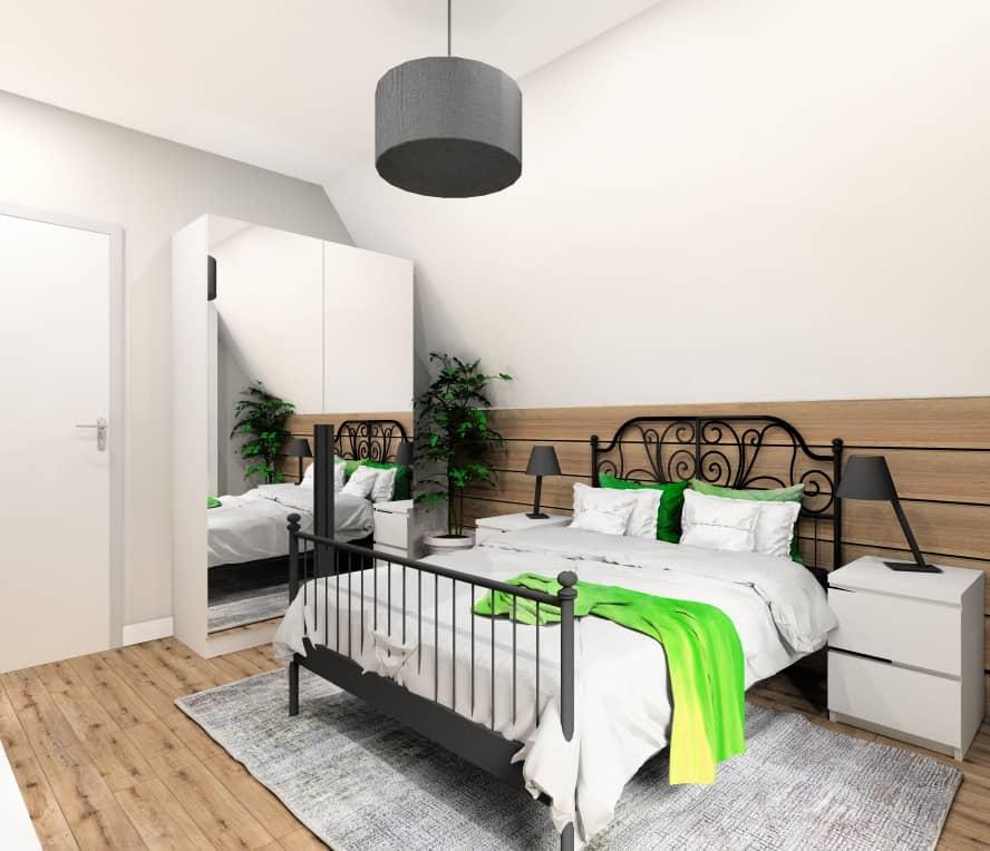 Pokój gościnny, nowoczesne wnętrze, pokój w kolorach biały, szary, czarny , dodatki, poduszki zielone, białe, obrazy zielone, czarne, dywan szary zielony