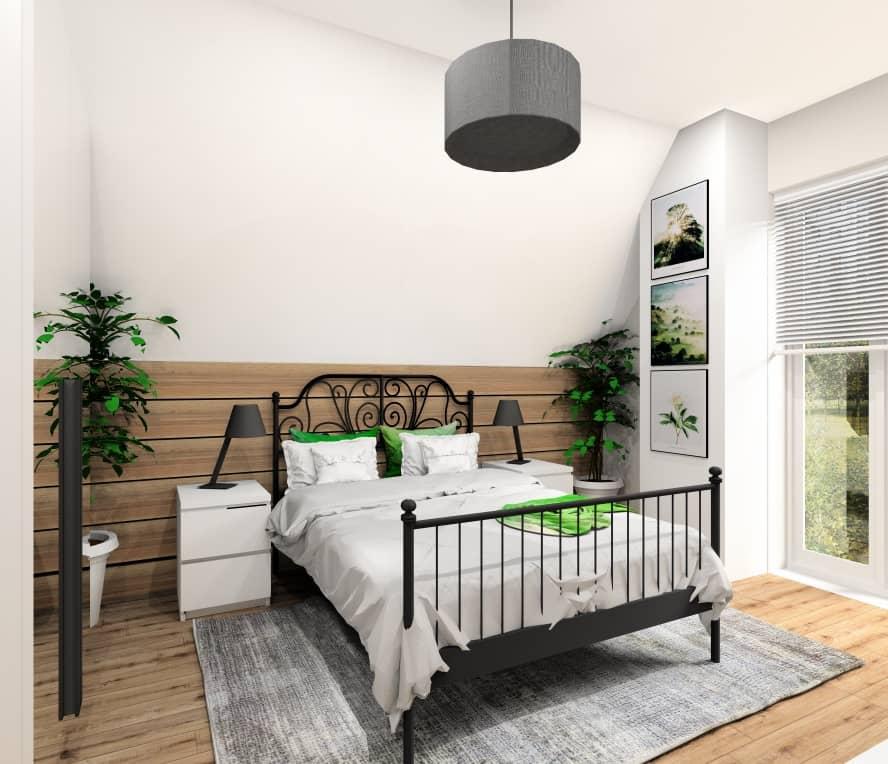 Pokój gościnny, łózko czarne, lampki nocne czarne, drewno na ścianie, poddasze, pomieszczenie w skosach, nowoczesne wnętrze