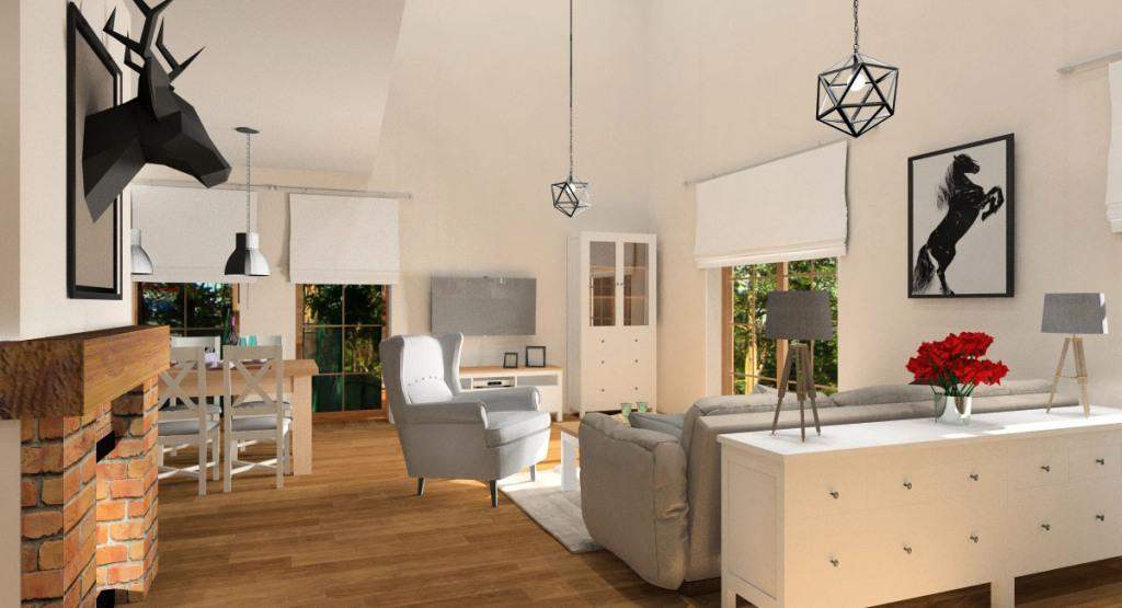 Projekt salonu z kuchnia i antresolą: beż, szary, biały, drewno, cegła