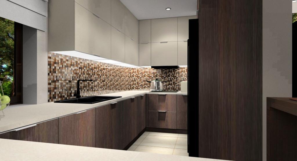 Salon z kuchnią i jadalnią : nowoczesna aranżacja wnętrza