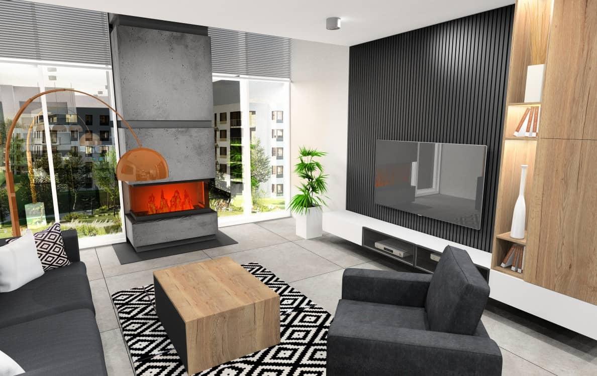 Salon, nowoczesne wnętrze, widok na ścianę TV oraz kominek, szafka TV biała, panele drewniane na ścianie, regał na książki na ścianie TV, stolik kawowy drewniany, dywan czarny, dodatki złote, Gres na podłodze szary