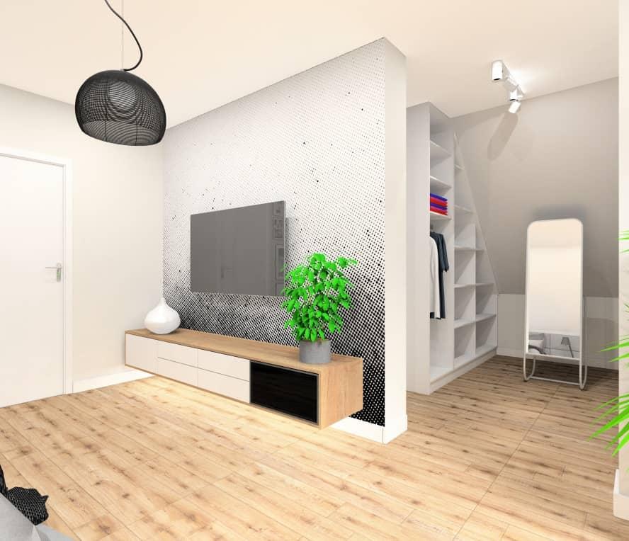 Sypialnia z garderobą, fototapeta na ścianie TV