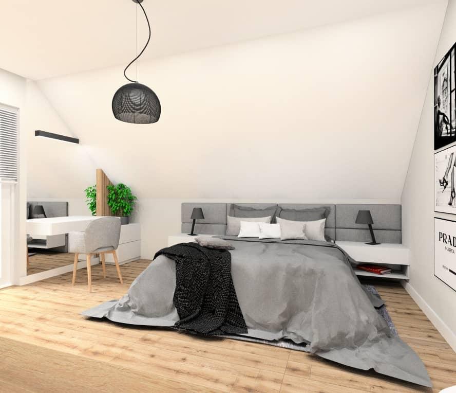 Sypialnia, nowoczesne wnętrze, sypialnia na poddaszu w skosach