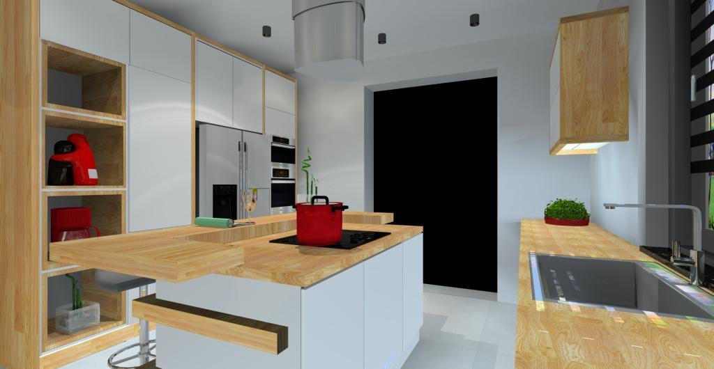 Nowoczesna Kuchnia Biała Kuchnia Z Wyspą Projekt
