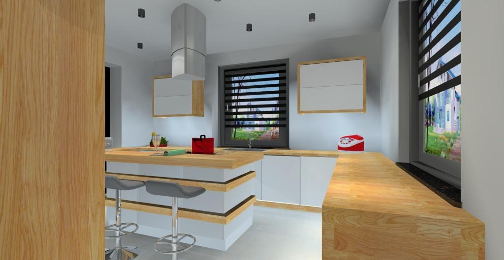 projekt kuchni nowoczesnej, kuchnia wwyspą biała z drewnem, hokery w kuchni
