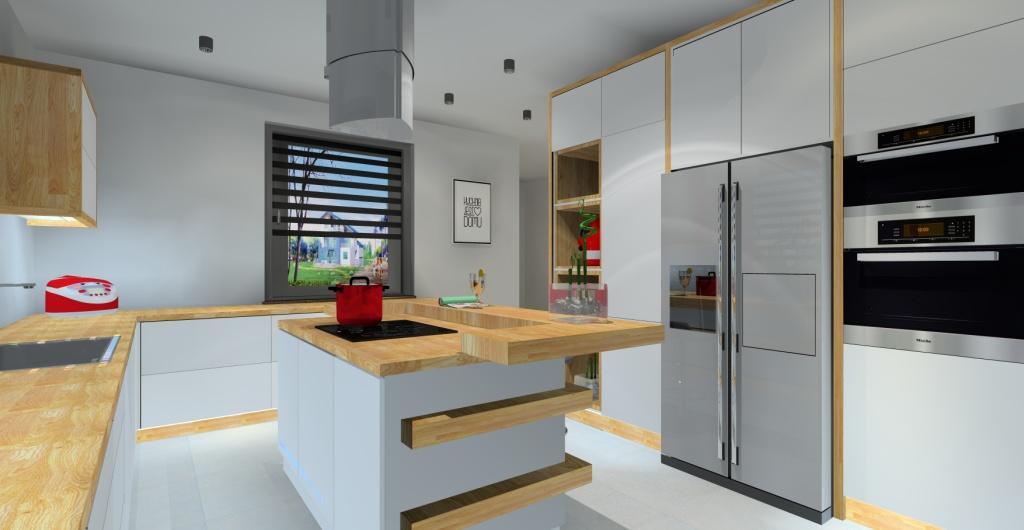 Nowoczesny projekt kuchni, biły, drewno, wyspa kuchenna