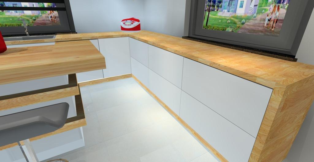 nowoczesna kuchnia minimalistyczna, cokoły oświetlone listwa led
