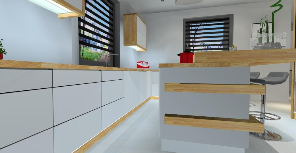 Nowoczesne wnetrze kuchni, kuchnia minimalistyczna biała, z  dodatkiem drewna