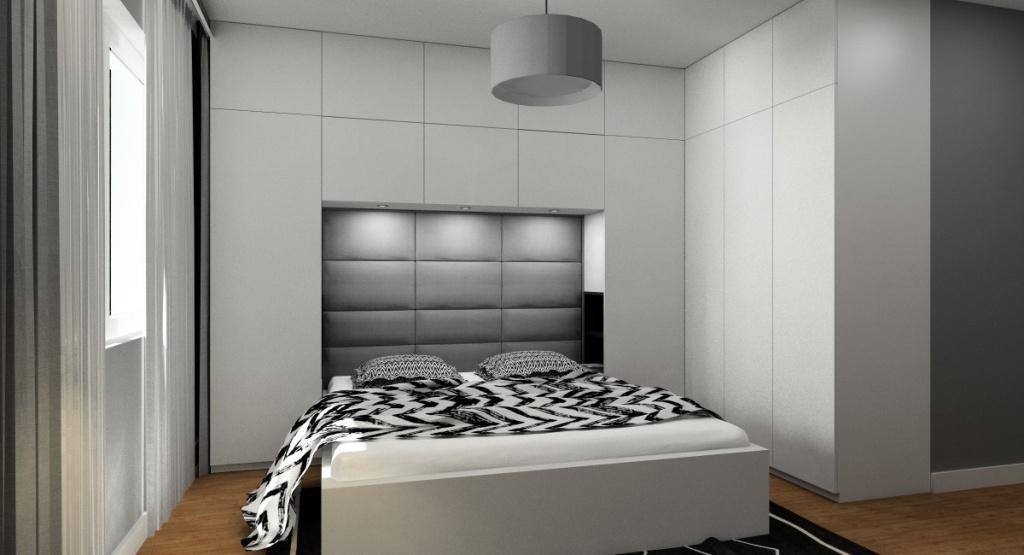 Aranżacja nowoczesnej sypialni - Kolory do sypialni to biel, szarość, czerń