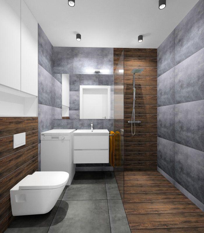 Pomysł na małą łazienkę. Aranżacja małej łazienki : drewno i szarość